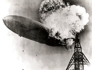 Hindenburg airship disaster photo by Blimpguy for Wikimedia